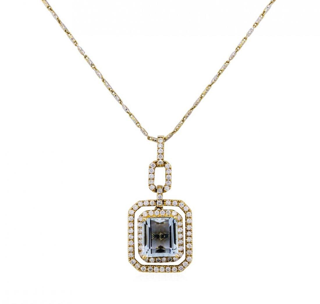 14KT Yellow Gold 3.60ct Aquamarine and Diamond Pendant
