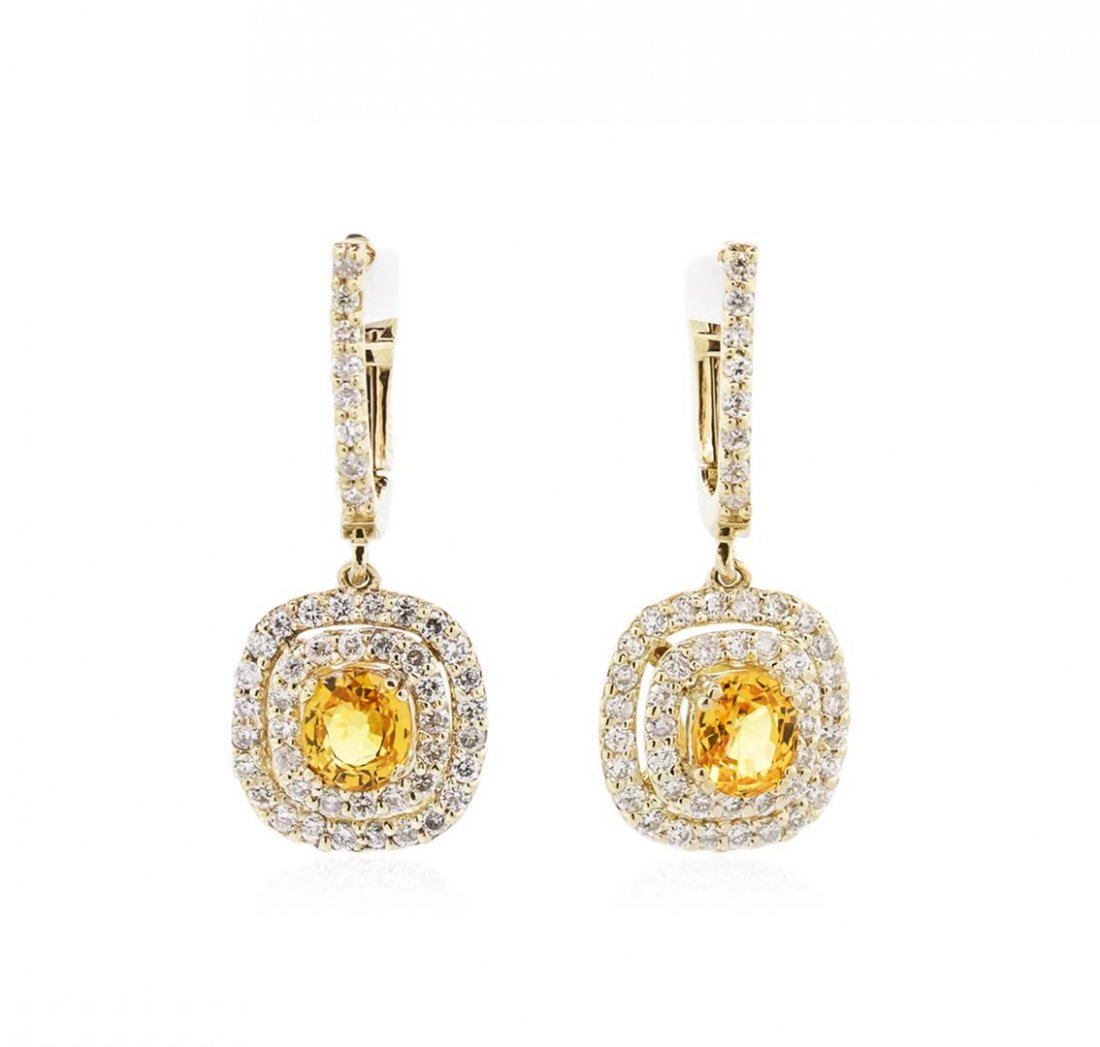 14KT Yellow Gold 1.40ctw Yellow Sapphires and Diamond