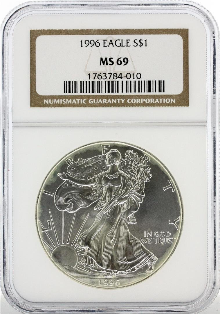 1996 $1 American Silver Eagle Silver Coin NGC Graded