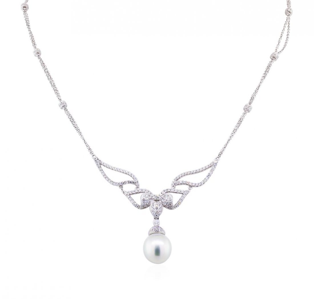 14KT White Gold Pearl and 1.60ctw Diamond Necklace