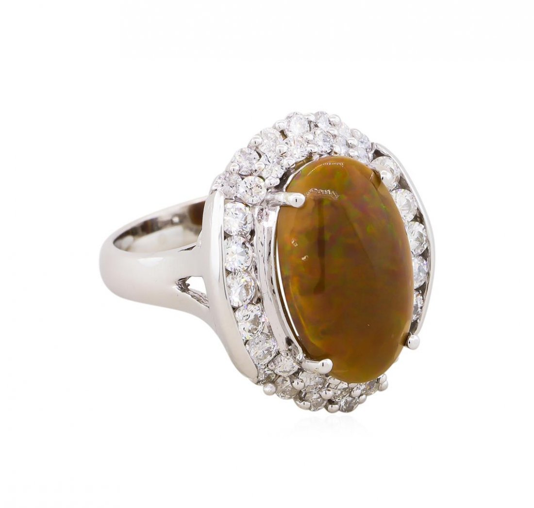 14KT White Gold 3.12ct Opal and Diamond Ring
