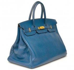 807: An Hermes \u0026#39;Trim II\u0026#39; Navy Calf Bag, 38 x 30 cm (15 : Lot 807