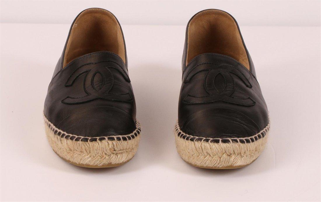 Authentic Chanel Espadrilles Flat Shoes Black Lambskin - 2