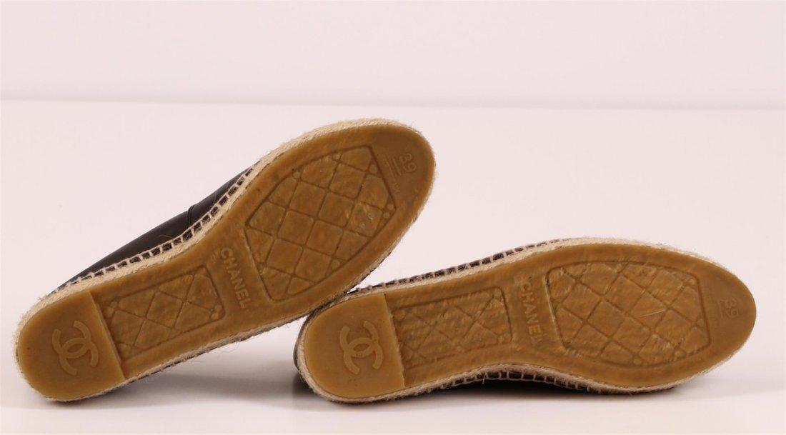 Authentic Chanel Espadrilles Flat Shoes Black Lambskin - 4