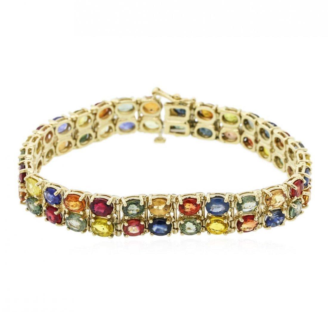 14KT Yellow Gold 26.50ctw Multi Color Sapphire Bracelet