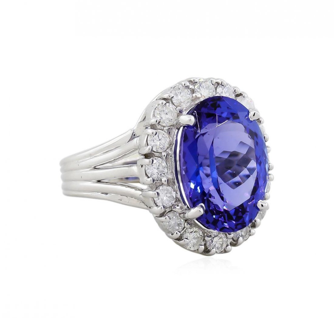 18KT White Gold GIA 6.56ct Tanzanite and Diamond Ring