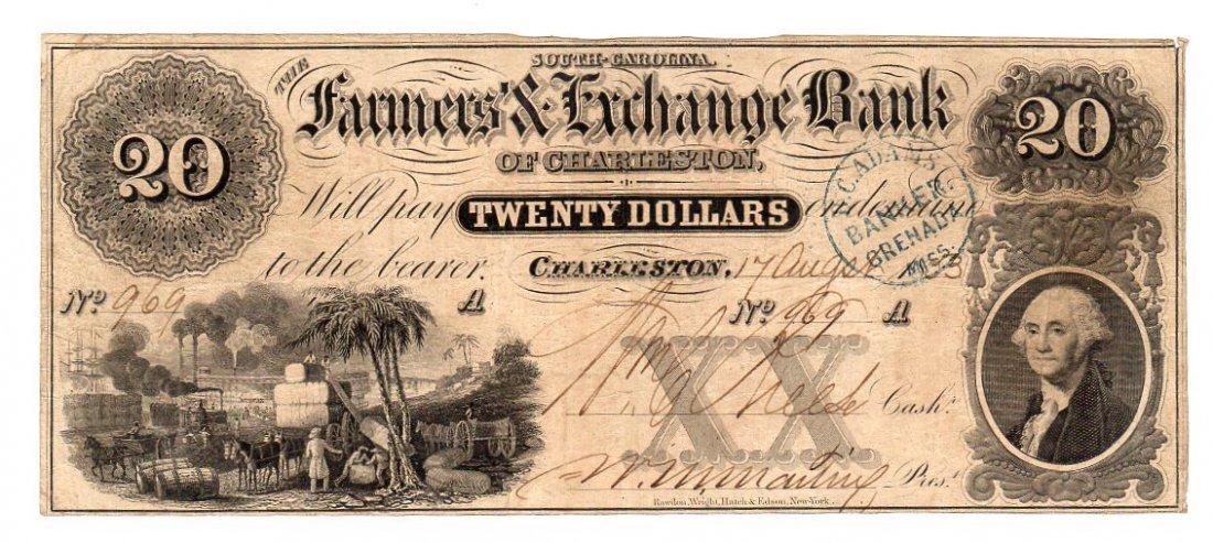 1853 $20 Farmers & Exchange Bank Charleston Obsolete
