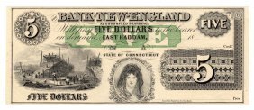 1800's $5 The Bank Of New England Goodspeed's Note