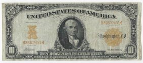 Large 1907 $10 Gold Certificate Note