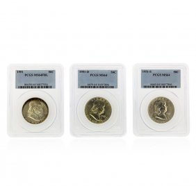 Set Of (3) 1951-d-s Franklin Half Dollar Coins Pcgs