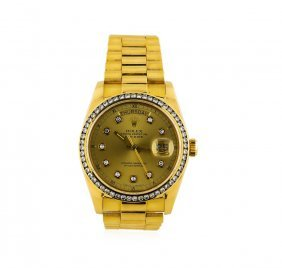 Gents 18kt Yellow Gold Rolex 1.65ctw Diamond Daydate