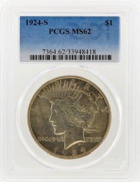 1924-s $1 Peace Silver Dollar Pcgs Graded Ms62