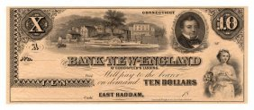 1800's $10 The Bank Of New England Goodspeeds Obsolete