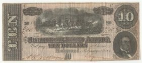 1864 $10 The Confederate States Of America Note