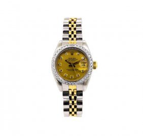 Ladies Two-tone Rolex Datejust Watch With Diamond Bezel