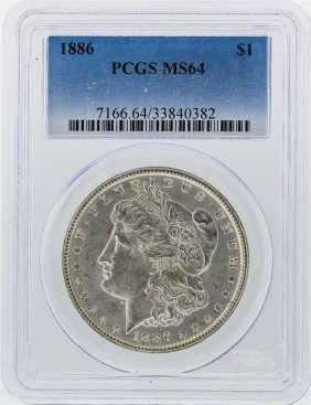 1886 $1 Morgan Silver Dollar Pcgs Graded Ms64