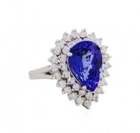 14kt White Gold 5.68ct Tanzanite And Diamond Ring