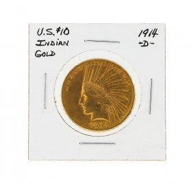 1914-d $10 Indian Head Gold Coin