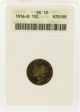1916-d Mercury Dime Anacs Graded Vg10