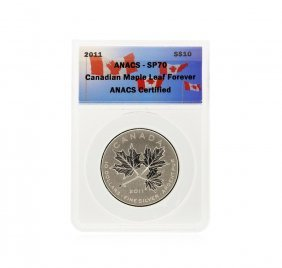 2011 $10 Canadian Maple Leaf Forever Silver Coin Anacs