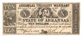 1862 $10 State Of Arkansas Obsolete Bank Note