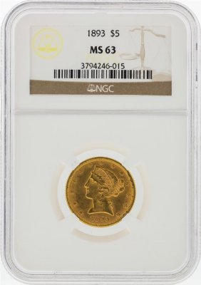 1893 $5 Liberty Head Half Eagle Gold Coin Ngc Ms63