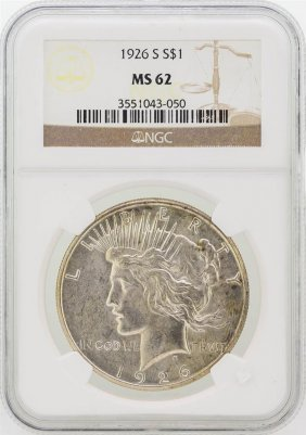 1926-s Peace Silver Dollar Coin Ngc Graded Ms62