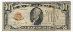 1928 $10 Gold Certifcate Bank Note