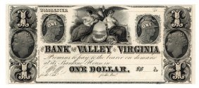 1800s $1 Bank Of The Valley In Virginia Obsolete Note
