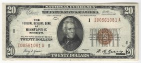 1929 $20 National Currency Note Bank Of Minneapolis, Mn