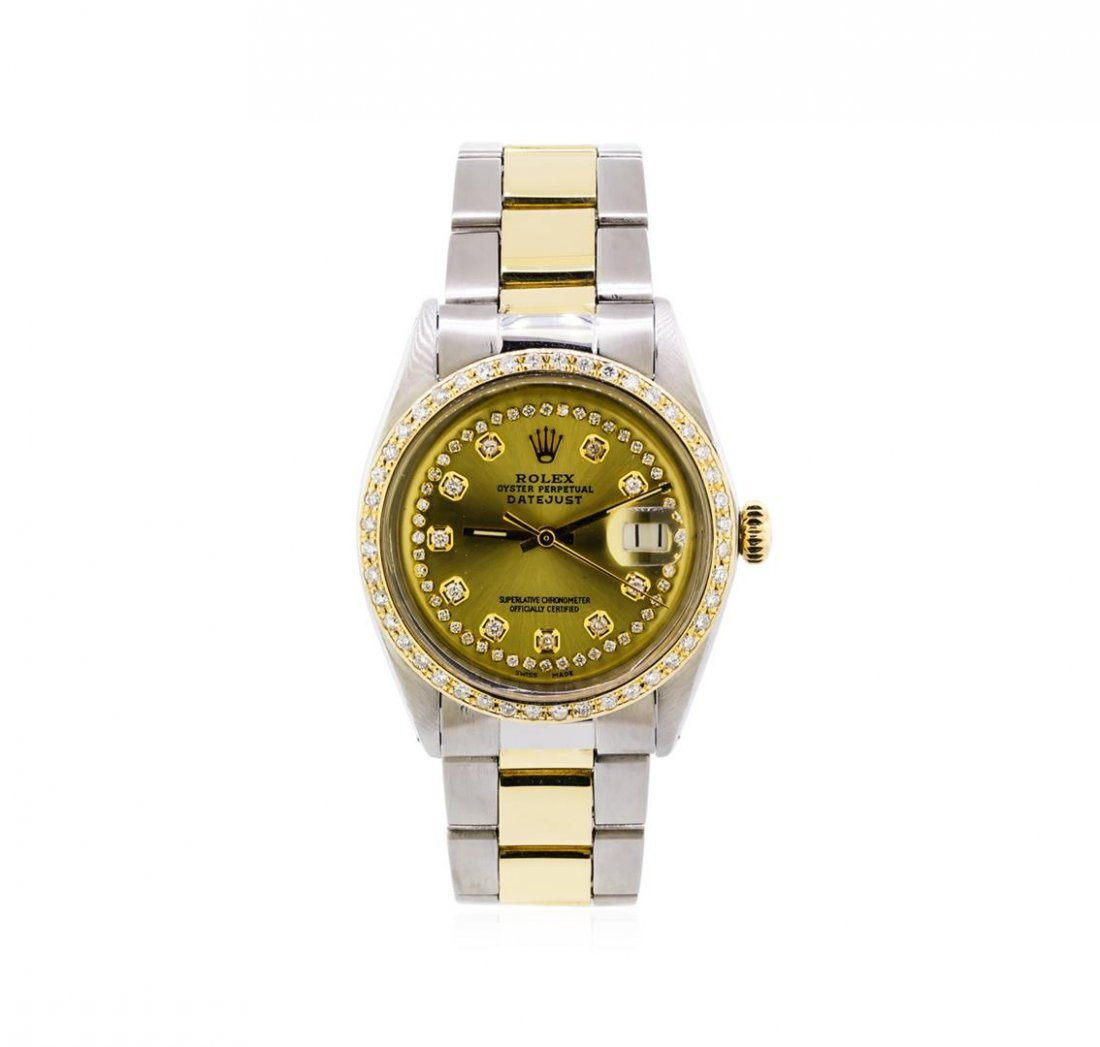 Mens Two-Tone Rolex Datejust Watch with 1.19ctw Diamond