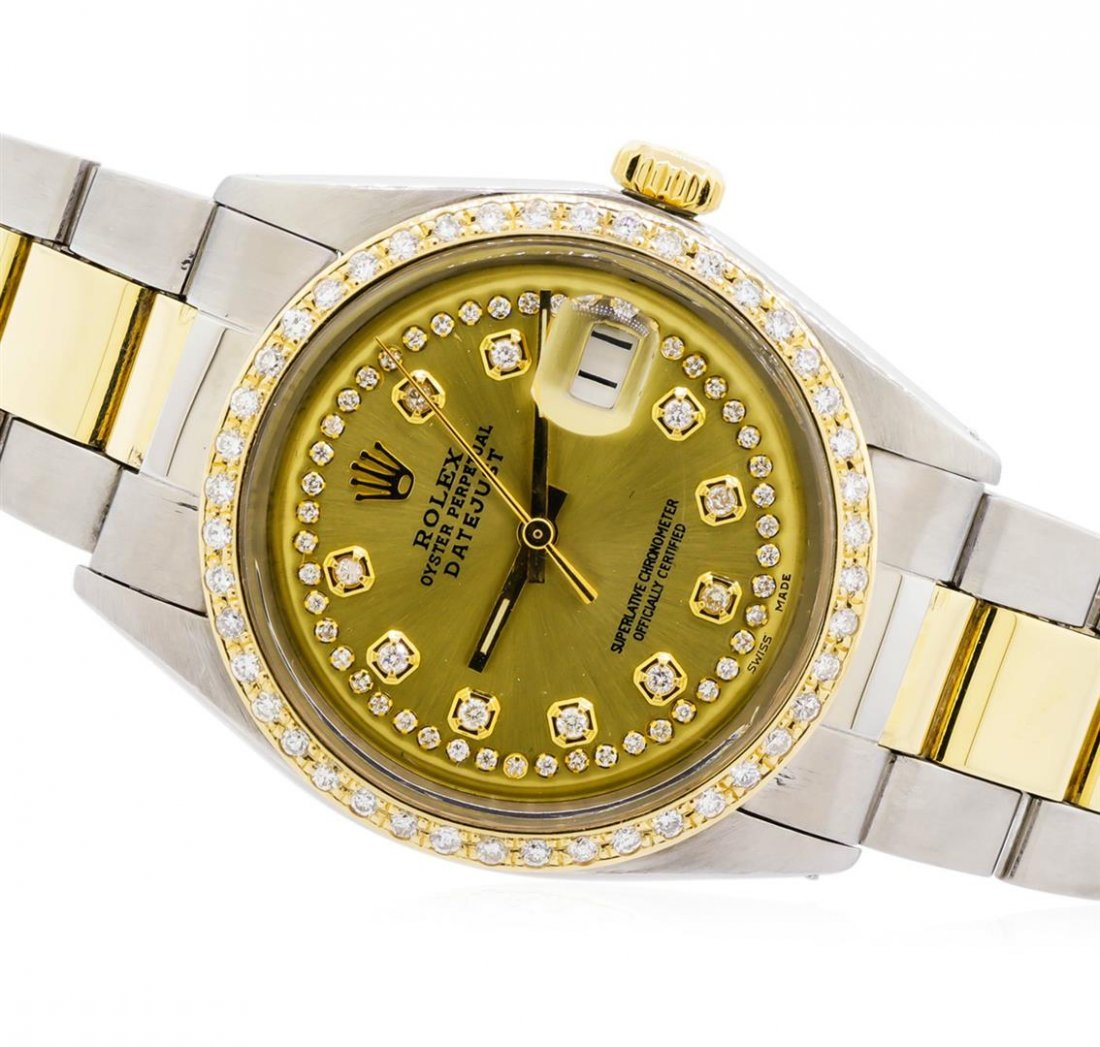 Mens Two-Tone Rolex Datejust Watch with 1.19ctw Diamond - 2