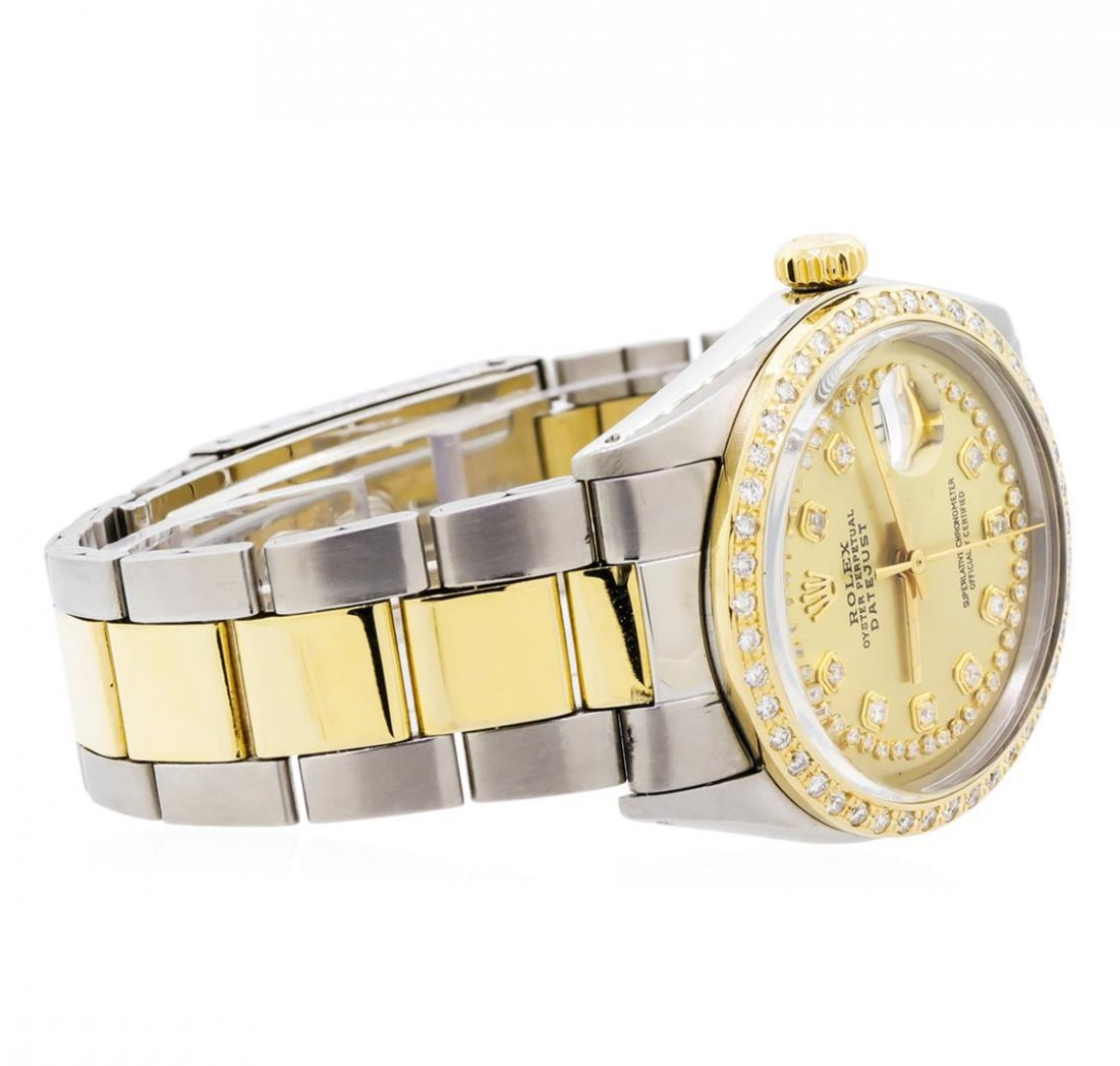 Mens Two-Tone Rolex Datejust Watch with 1.19ctw Diamond - 3