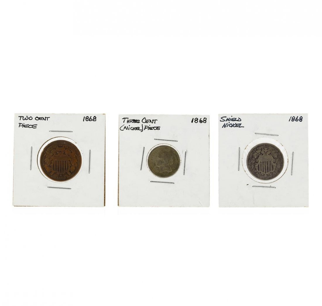 1868 2 Cent Piece, 3 Cent Nickel, and 5 Cent Shield