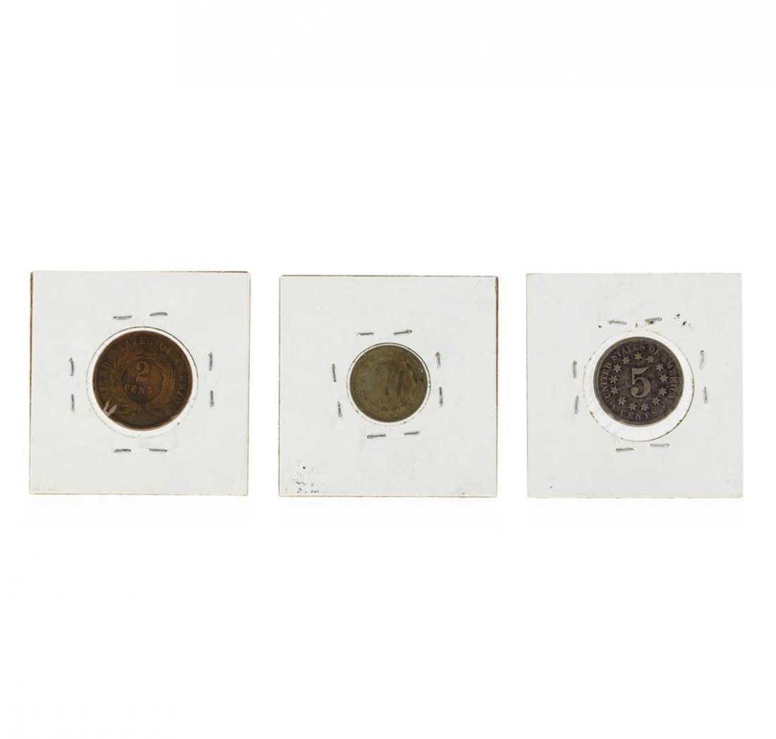 1868 2 Cent Piece, 3 Cent Nickel, and 5 Cent Shield - 2