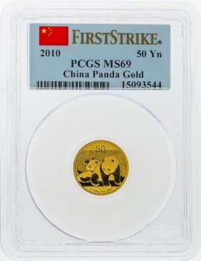 2010 50 Yuan China Panda Gold Coin Pcgs Ms69