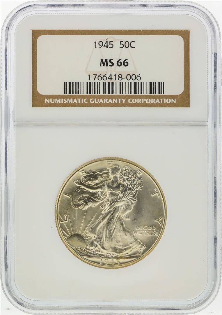 1945 Walking Liberty Half Dollar Coin NGC MS66