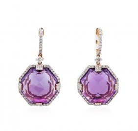 14kt Rose Gold 27.52ctw Amethyst And Diamond Earrings