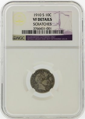 1910-s Liberty Head Dime Ngc Graded Vf Details