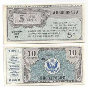Lot Of (2) Military Payment Certificate Notes Cu