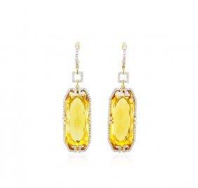 14kt Yellow Gold 38.96ctw Citrine And Diamond Dangle