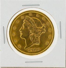 1906 $20 Liberty Head Double Eagle Gold Coin