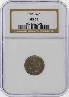 1865 3 Cent Nickel Coin Ngc Graded Ms63