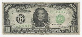 1934-a $1000 Federal Reserve Bank Note Chicago