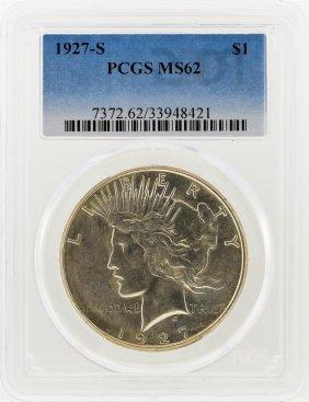 1927-s Peace Silver Dollar Pcgs Graded Ms62