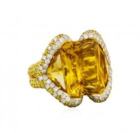 14kt Yellow Gold 34.70ctw Citrine And Diamond Ring