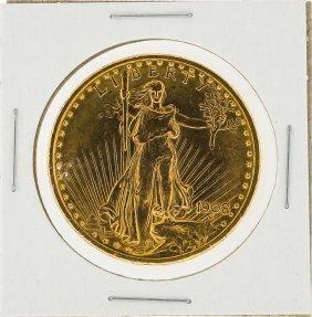 1908 $20 St. Gaudens Double Eagle Gold Coin No Motto