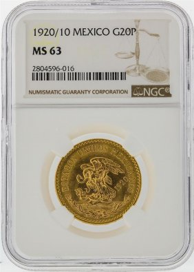 1920/10 20 Pesos Mexico Gold Coin Ngc Graded Ms63