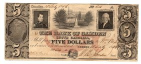 1850s $5 The Bank Of Camden Obsolete Bank Note