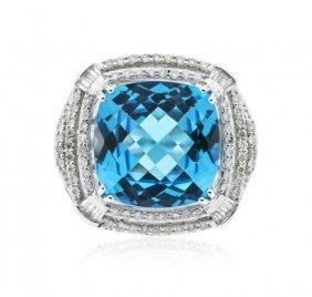 14kt White Gold 13.29ct Topaz And Diamond Ring